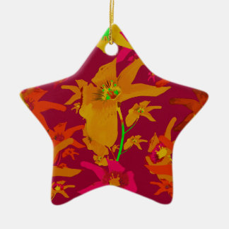 Hawaiian Tropical Style Lilies Collage Ceramic Star Decoration