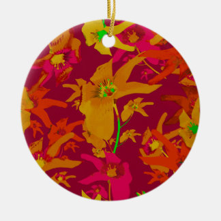 Hawaiian Tropical Style Lilies Collage Round Ceramic Decoration