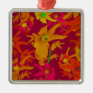 Hawaiian Tropical Style Lilies Collage Silver-Colored Square Decoration
