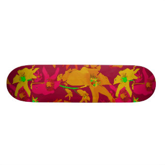 Hawaiian Tropical Style Lilies Collage Custom Skateboard