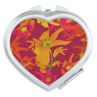 Hawaiian Tropical Style Lilies Collage Travel Mirrors
