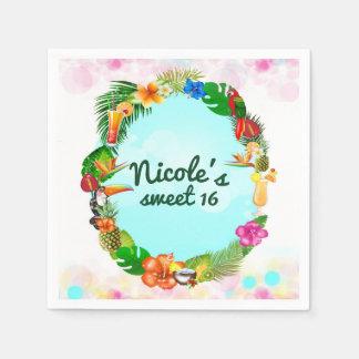Hawaiian Tropical Summer Things Frame Luau Party Paper Napkins