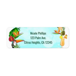 Hawaiian Tropical Summer Things Frame Luau Party Return Address Label