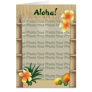 Hawaiian Tropical Tiki Hut Aloha Photo Frame Card