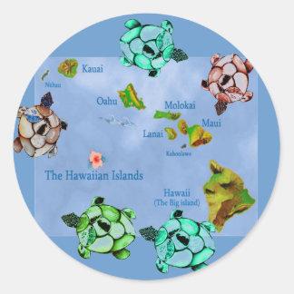 Hawaiian Turtles & map sticker Round Sticker