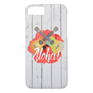 Hawaiian Ukulele & Hibiscus Flower Rustic Wood iPhone 7 Case