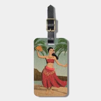 Hawaiian Vintage Hula Girl Distressed Postcard Luggage Tag