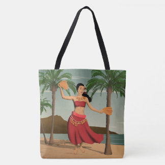 Hawaiian Vintage Hula Girl Postcard Beach Bag