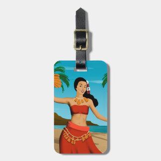 Hawaiian Vintage Hula Girl Postcard Luggage Tag