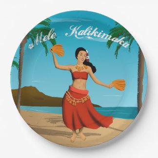 Hawaiian Vintage Mele Kalikimaka Postcard Paper Plate