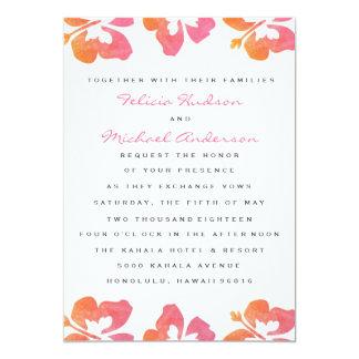 Hawaiian Watercolor Hibiscus Flower Wedding Invite