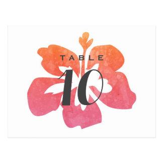 Hawaiian Watercolor Hibiscus Wedding Table Number Postcard