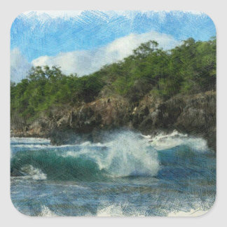 Hawaiian Waters Square Sticker