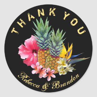 Hawaiian Wedding Thank You Black Round Sticker