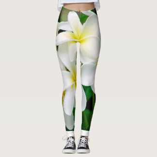 Hawaiian White Plumeria Blossoms Tropical Flower Leggings