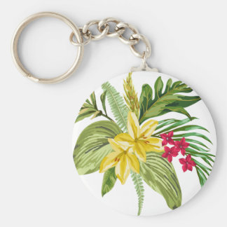 Hawaiian Yellow And Red Flowers Basic Round Button Key Ring