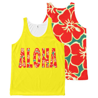 Hawaiian Yellow Red Hibiscus Luau Tropical Flowers All-Over Print Tank Top