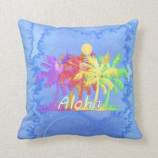 Hawaiin Aloha Palm Tree Watercolors Cushion