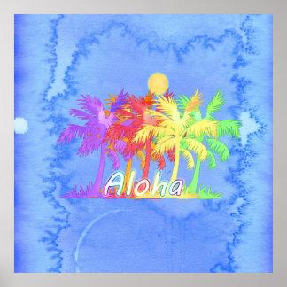 Hawaiin Aloha Palm Tree Watercolors Print