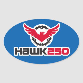 Hawk 250 Logo Blue Background Oval Sticker