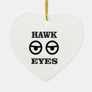 hawk eye fun ceramic ornament