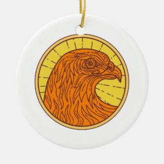 Hawk Eye Side Circle Mono Line Ceramic Ornament