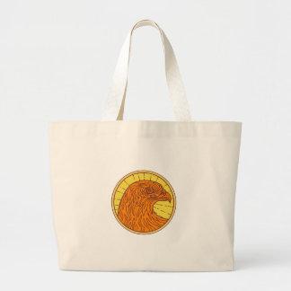 Hawk Eye Side Circle Mono Line Large Tote Bag