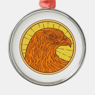 Hawk Eye Side Circle Mono Line Metal Ornament