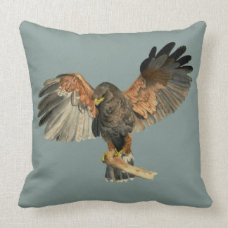 Hawk Flapping Wings Watercolor Painting Cushion