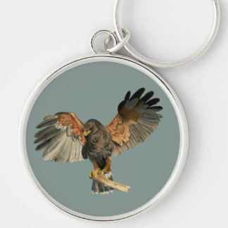 Hawk Flapping Wings Watercolor Painting Key Ring