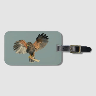 Hawk Flapping Wings Watercolor Painting Luggage Tag