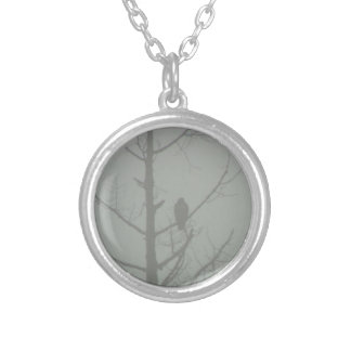 Hawk In The Mist Silver Plated Necklace
