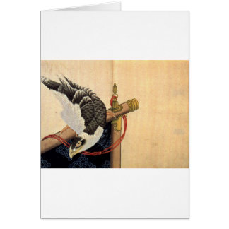 Hawk on a ceremonial stand by Katsushika Hokusai Card