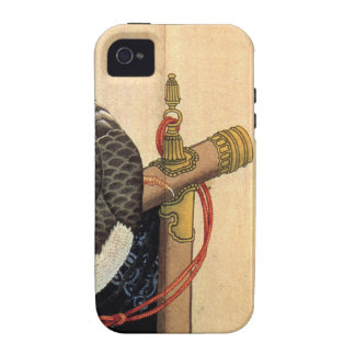 Hawk on a ceremonial stand by Katsushika Hokusai Case-Mate iPhone 4 Cases