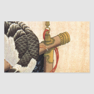 Hawk on a ceremonial stand by Katsushika Hokusai Rectangular Sticker