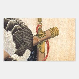 Hawk on a ceremonial stand by Katsushika Hokusai Rectangular Sticker