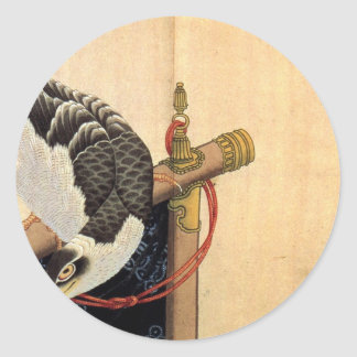 Hawk on a ceremonial stand by Katsushika Hokusai Round Sticker
