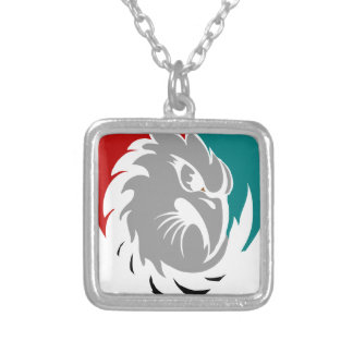 Hawk Security Protection Shield Silver Plated Necklace