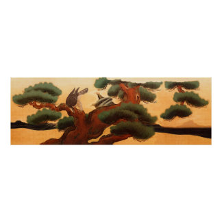 Hawks and Pine Trees by Kano Tanyu Poster