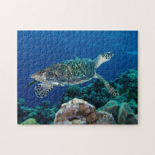 Hawksbill Sea Turtle Great Barrier Reef Coral Gift Jigsaw Puzzle