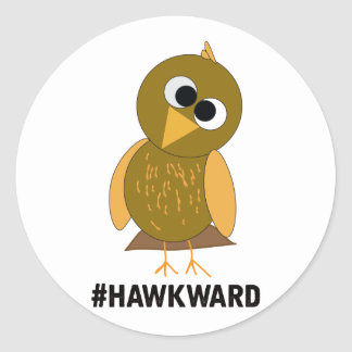hawkward classic round sticker