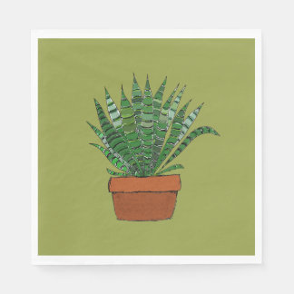 Haworthia Succulent Art Green Napkin Disposable Serviettes