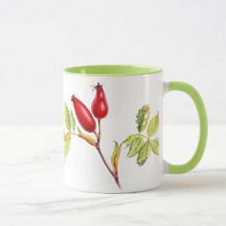 Hawthorn & rose hip botanical art green mug