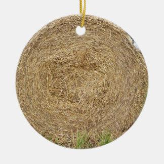 Hay bale in a field ceramic ornament
