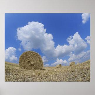 Hay Bales in Field, Pienza, Val d'Orcia, Siena Poster