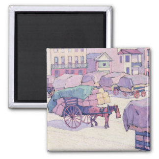 Hay Carts, Cumberland Market (oil on canvas) Square Magnet