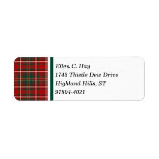 Hay Clan Red and Green Scottish Tartan Return Address Label