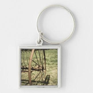 Hay Rake Wheel Aged Silver-Colored Square Key Ring