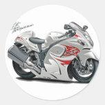Hayabusa White-Red Bike Classic Round Sticker