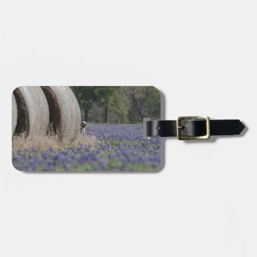 Haybales bluebonnets tags for luggage